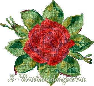 Red rose cross-stitch machine embroidery