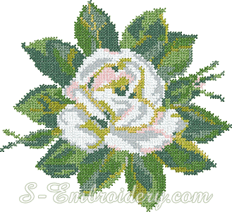 White rose cross-stitch machine embroidery
