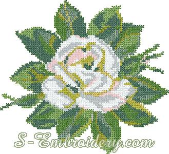 White rose cross-stitch machine embroidery