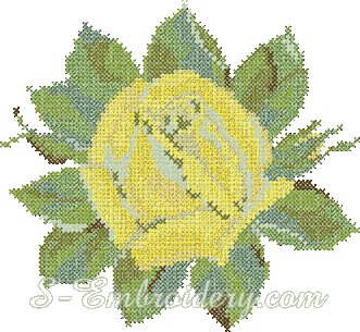 Yellow rose cross-stitch machine embroidery