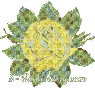 Yellow rose cross-stitch machine embroidery