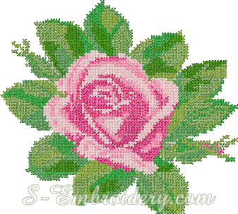 Pink rose cross-stitch machine embroidery