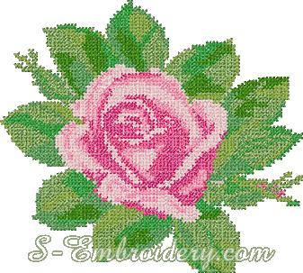 Pink rose cross-stitch machine embroidery
