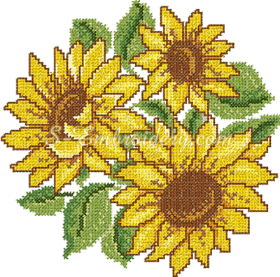 Cross stitch sunflower embroidery design - sku10068