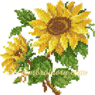 Sunflower cross stitch machine embroidery design - 10069