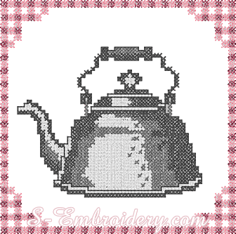 Kettle cross-stitch machine embroidery design