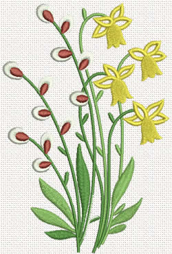 Daffodil Flower Embroidery Designs