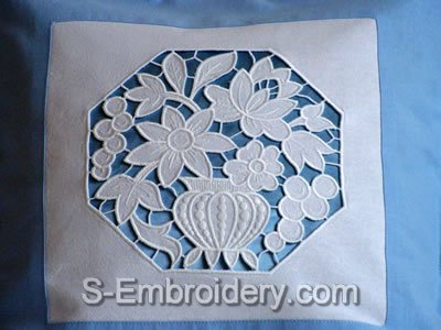 Cutwork lace flower vase embroidery