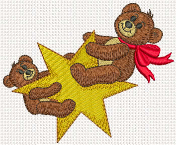 Star Bears machine embroidery