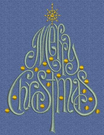 Merry Christmas Tree Machine Embroidery