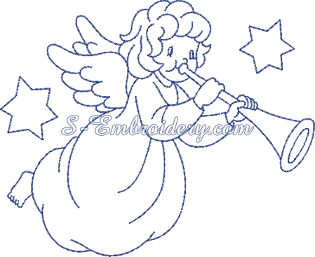 Christmas angel machine embroidery design No1