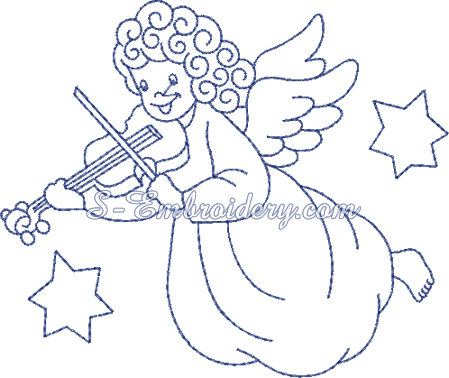 Christmas angel machine embroidery design No2