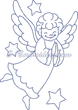 Christmas angel machine embroidery design No3