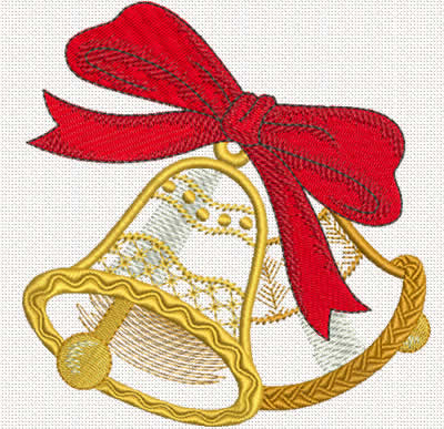 Christmas bells applique machine embroidery design