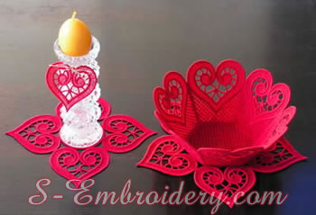 Free standing lace machine embroidery bowl and doilies set