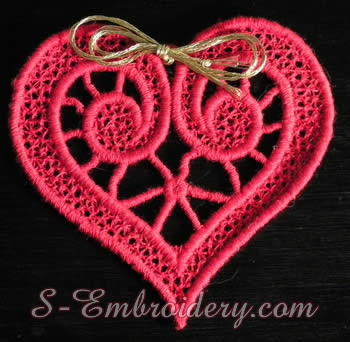 Free standing lace heart machine embroidery design