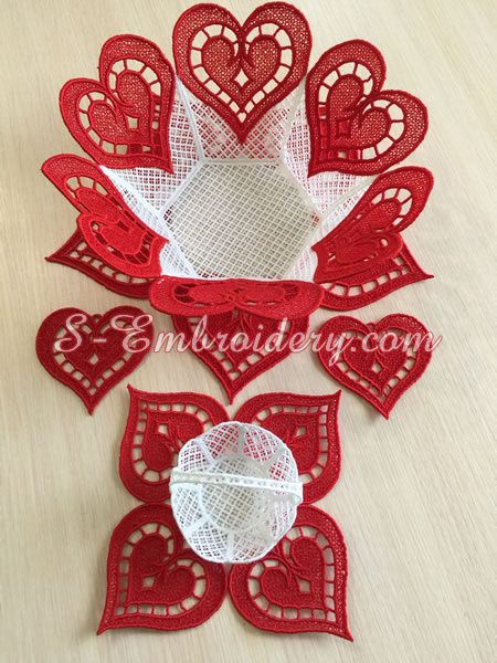 Free standing lace bowl , doily, heart machine embroidery set