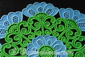 Free standing lace doily detail