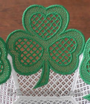 Shamrock lace bowl closeup