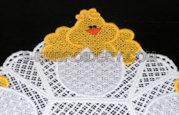 Easter Chick freestanding lace doily close-up