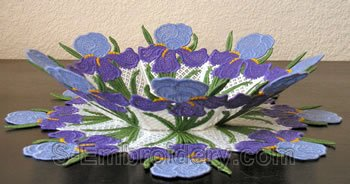 Iris freestanding lace bowl and doily