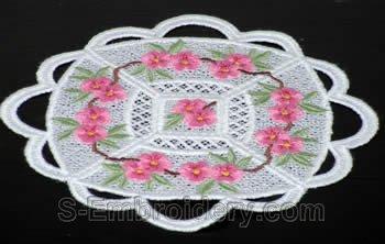Peach blossom freestanding lace doily #3