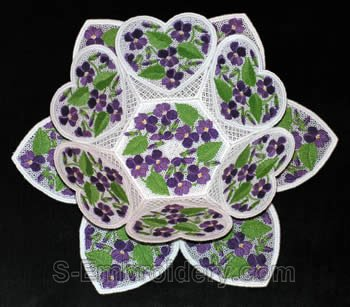 Violets freestanding lace bowl and doily
