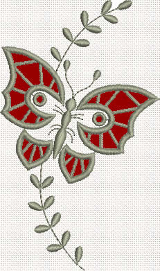 Lace butterfly machine embroidery