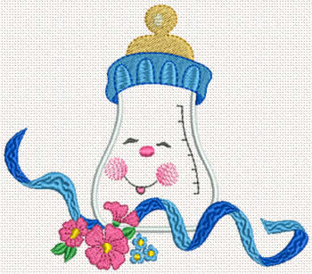 Baby bottle machine embroidery design