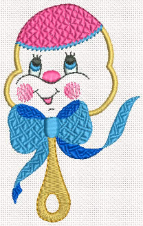 Baby rattle machine embroidery design