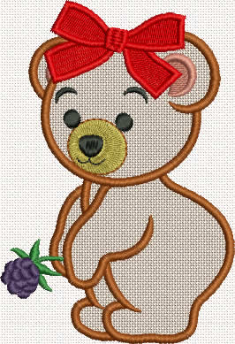 Bear Girl Applique Machine embroidery design