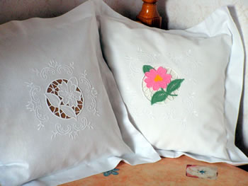 Floral lace embroidery decorated pillow case