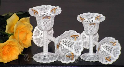 Wedding rings decorated FSL goblets