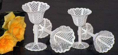 Freestanding lace wedding goblets