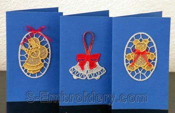 Freestandinf lace decorations for Christmas Greeting cards