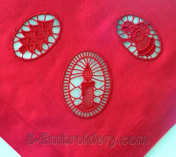 Christmas tablecloth with FSL decorations closeup