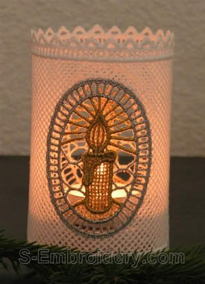Christmas Candle freestanding lace shade