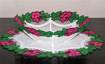 Rose freestanding lace bowl side view