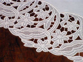 Freestanding lace floral doily close-up