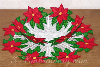 Freestanding Lace Poinsettia Bowl and doily