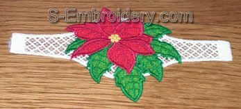 Freestanding Lace Poinsettia napkin ring