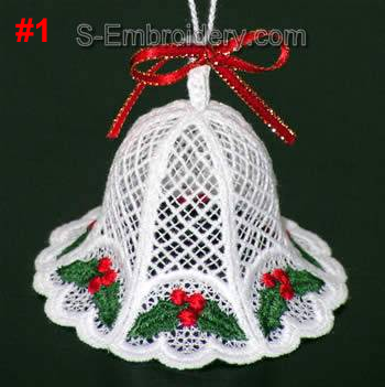 Freestanding Lace 3D Christmas bell #1