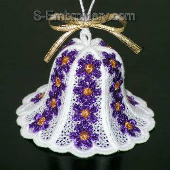 Freestanding Lace 3D Christmas bell #4