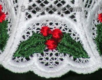 Freestanding Lace 3D Christmas bell close-up image