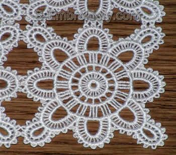 Freestanding lace doily closeup