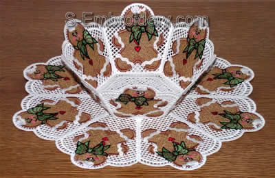 Freestanding lace Christmas Candy bowl and doily set