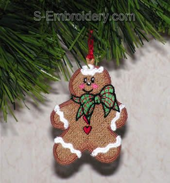 Freestanding lace ginger boy Christmas ornament