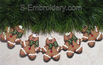 Freestanding lace ginger boy ornaments garland