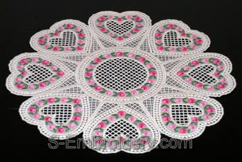 Valentine Heart freestanding lace doily