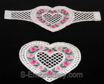 Valentine heart freestanding lace serviette ring & FSL heart